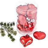 Dadeldo Weihnachtskugel Herz Premium 10er Set Glas 6x5x3cm Xmas Baumschmuck (Rot)
