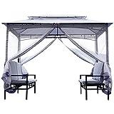 Outsunny Pavillon Gartenpavillon Gartenzelt mit Sitzbank Seitenwände Stahl Grau 2x2,9x2,45m