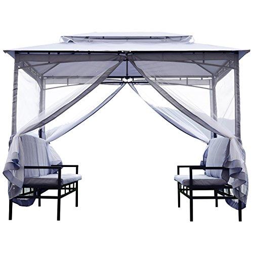 Outsunny Pavillon Gartenzelt mit Sitzbank Seitenwände Stahl Grau 2x2,9x2,45m Gartenpavillon