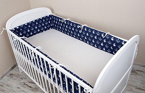 Bettumrandung Nest Kopfschutz Nestchen 420x30cm, 360x30cm, 180x30 cm Bettnestchen Baby Kantenschutz Bettausstattung Anker groß blau (420x30cm)