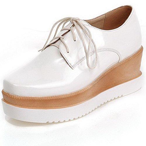 Chaussures Haut Lacet VogueZone009 Femme Légeres Talon à Carré Blanc Pu Unie Cuir Couleur wIvqw