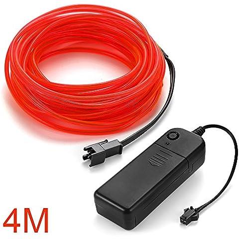 XCSOURCE 4M EL Filo Tubo corda del LED striscia flessibile della luce al neon con Controller per decorazione del partito dell'automobile di nozze (Red) LD805