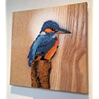Kingfisher Stencil Art Bird Painting on Ash Wood - Spraypainted Picture Ideal Gift for him/her/For dad/Birthday Gift Grandma/Grandad - Handmade by Shed of the Year Winner in Malmesbury UK - 14 x 12cm