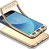 Für Galaxy J3 2017 Hülle + Panzerglas, HICASER 360 Grad Komplettschutz Vorder und Rückseiten Schutz Schale Ganzkörper-Koffer Soft TPU Schutzhülle für Samsung Galaxy J3 (2017) Duo / J330F / J3 Pro (2017) Gold