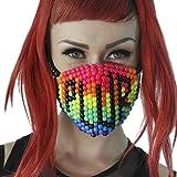 Kandi Gear Mascara Kandi de Arcoiris PLUR, mascara de rave, mascara para halloween, mascara con cuentas, mascara para festivales musicales y fiestas