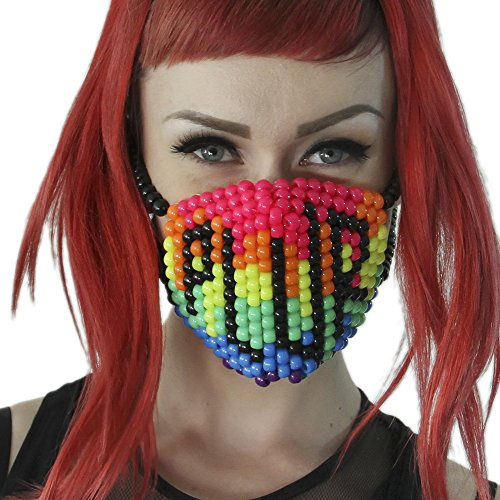 Rainbow PLUR Kandi Mask by Kandi Gear, rave mask, halloween mask, beaded mask, bead mask for music fesivals and parties