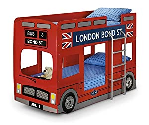 Happy Beds London Bus Bunk Bed Red Wooden Mattresses Kids Children Bedroom