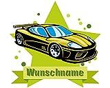 plot4u Cooles Auto Wandtattoo Türschild mit Name Personalisierbar Kinderzimmer Türaufkleber Baby Wandaufkleber in 9 Größen (40x35cm Mehrfarbig)