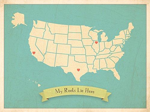 Kinder inspirieren Design Personalisierte, meine Wurzeln Vereinigten Staaten von Amerika (USA), Map Kunstdruck 35,6x 27,9cm Clay (Staaten-map-kunst Vereinigte)