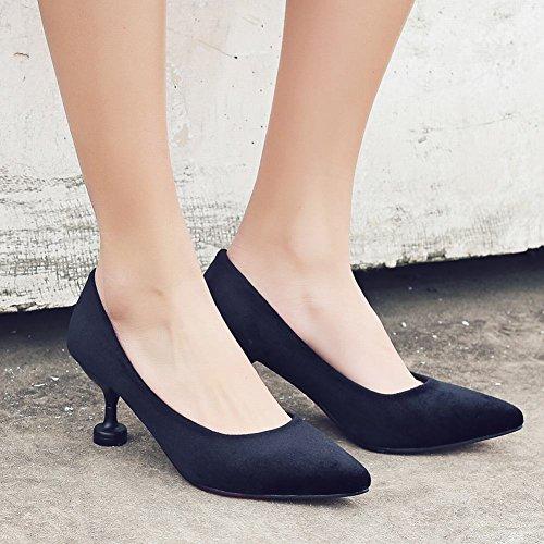 e7781d75ad7c8 Mee Shoes Damen high heels Geschlossen Suede Pumps Schwarz -eg ...