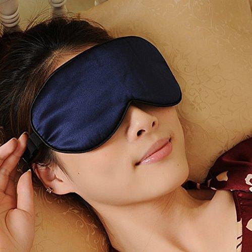 Venkaite Schlafmaske Premiumqualität 100% reine Seide hypoallergene waschbar Silk Luxus Augenmaske Weinrot (Dunkel Blau)