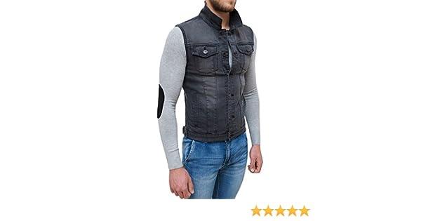 new concept bb5ec 6ae67 c2d37bc evoga giubbotto smanicato di jeans uomo nero denim ...