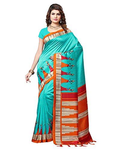 e-VASTRAM Womens Mysore Art Silk Printed Saree With Tassel/Kutch(RIMZIMG_Green)