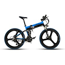 Vélo électrique pliable Extrbici® XT750 en Alliage d'Aluminium avec 27 vitesses 17 x 26 Pouces vélo Tout Terrain Suspension complète Batterie au Lithium 240W 36V 12.8A TS70-9 Double Puissance Ferme Frein à Disque mécanique Noir Bleu Cyrusher