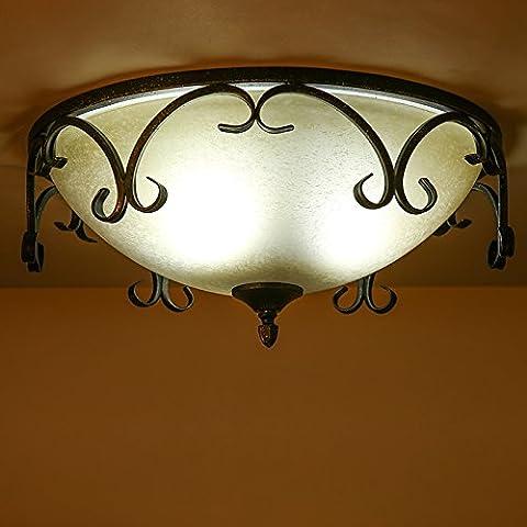 N.DFB Villaggio americano retrò luce a soffittoElegante e calda di vetro lampade in ferro camera da letto corridoio studio ristorante Occidentale di luce a soffitto,3WLEDLa sfera rendendo Wong Kwong3Enumerazione
