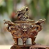Qpw Cobre Dragon Estufa Adornos Cobre pebetero incensario de Bronce - Cobre Puro 14 * 12