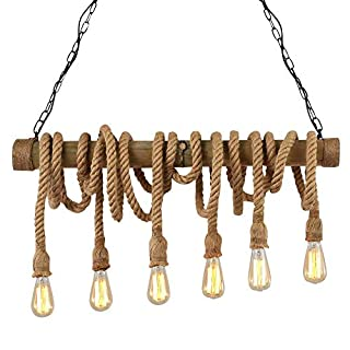 NIUYAO Pendant Chandelier Light Industrial Vintage Natural Hemp Rope Bamboo Style Ceiling Lighting Decorative Fixture with 6 Lights