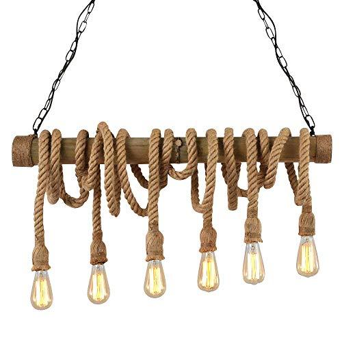 NIUYAO Lampada a Sospensione Palo di Bambù Corda di Canapa Forma unica Vintage Retro Industriale Lampadario Illuminazione Interni 6 Luce