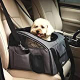 Generic Tweight Greyeat Comfortabl sella confortevole lusso guinzaglio Pet Carrier interno auto Booster leggero grigio lusso Pet Carri