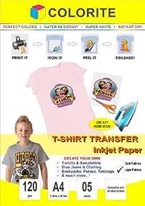 Colorite T-shirt Transfer Inkjet Paper Light Fabrics A4 / 5 sheets