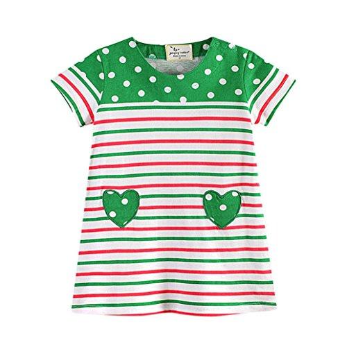 JERFER Mädchen Liebe Punkt Streifen T-Shirt Top Bluse Kurzarm-Shirt 1.5-6Jahre (Grün, 5T) (5t-shirt)