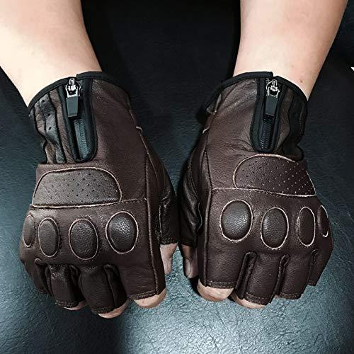 XuBa retro marrone Biker in pelle guanti moto equitazione caldo protezione guanti mezze dita guanti per uomini e donne ciclismo
