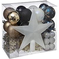 WEB2O Lot déco Noël - Kit 44 pièces pour décoration Sapin : Guirlandes, Boules et Cimier - Thème Couleur : Blanc, Bleu, Champagne & Noir