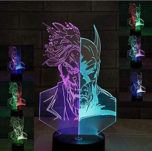 GZ 3D LED Optische Täuschung Lampen Nachtlicht Batman Clown Neben Tischleuchte, 7 Farben Auto Ändern Touch Switch Schreibtisch Dekoration Lampen Geburtstag, USB,EIN,1