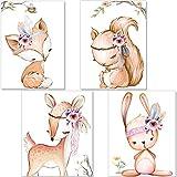 artpin 4er Set Poster Kinderzimmer - A4 Bilder Babyzimmer - Deko Mädchen (P42)