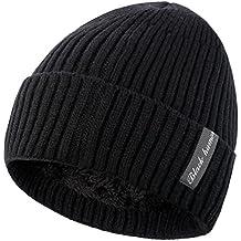 Novawo Bonnet Beanie Unisexe Doublure en Laine Épais Chaud Chapeau en Tricot  avec Écharpe Chaude 5c857167ea5