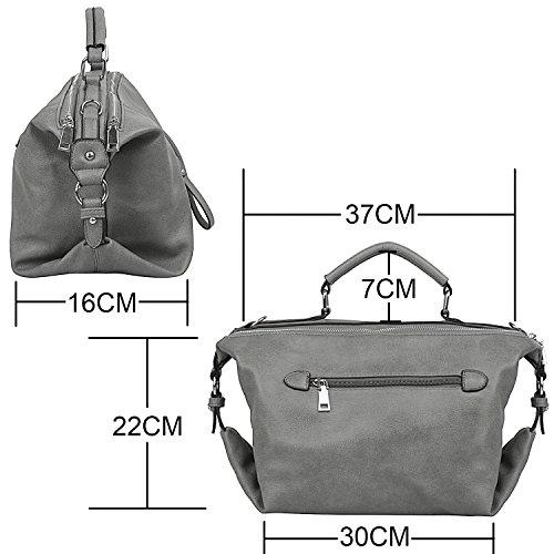 7d4d3ed807fae Damen PU-Leder Handtaschen Simple Fashion Schultertasche mit Gurt für Damen  Marineblau L016-Grau ...