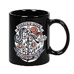 Taza mug desayuno de cerámica negra 32 cl. Modelo Amor Pirata