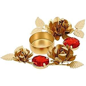 Golden Red Designer Diyas Diwali Decorations Candle Light Holder