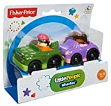 Fisher Price World Of Little People Wheelies Green Car & Purple Car