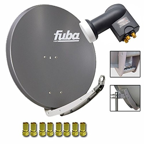 Fuba DAA 850 A Digital Sat Schüssel Anthrazit 85x85cm Full HD 3D TV + LNB Quad 0,1 dB PremiumX PXQS-SE Quattro Switch zum Direktanschluss von 4 Teilnehmern Digital HDTV Full HD 3D tauglich + 8x F-Stecker 7mm vergoldet