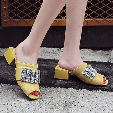 RTRY Donna Sandali Slingback Pu Primavera Estate Autunno Abito Casual Rhinestone Chunky Blocco Tacco Tacco Nero Giallo 2A-2 3/4In US11.5 / EU43 / UK9.5 / CN45