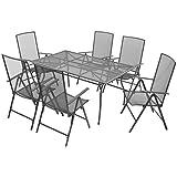WEILANDEAL 7-Teiliges Gartenmöbel-Set aus Edelstahl, Zusammenklappbar, 86 x 57 x 14 cm (Länge x Breite x Höhe)