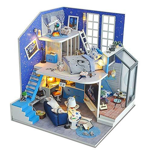 Puppenhaus Miniatur Haus Kit Diy House Of Star Field Kreative Manuelle Montage Modellhaus Romantischer Valentinstag ist das Geburtstagsgeschenk aus Holz DIY Dollhouse Mini Handmade Kit für Mädchen Kab