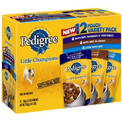 Pedigree ~ Little Champions ~ Food for Small Dogs ~ Casserole Variety Pack ~ Box of 12 / 5.3oz Pouches by Pedigree