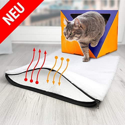 BellMietz® selbstwärmende Katzendecke [Handmade in Europa] - 45x60cm große selbstheizende Decke Katze - Kuschelig weiche Eco Sherpa Heizdecke Katze & Hunde inkl. Katzen Trainingsbuch