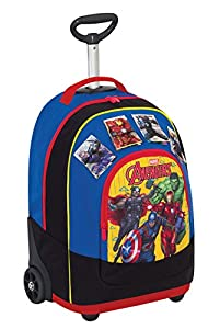 BIG TROLLEY MARVEL AVENGERS - 2in1 Wheeled Backpack with Disappearing Shoulder Straps - Magnetic Cards - Yellow Red 31Lt from Seven