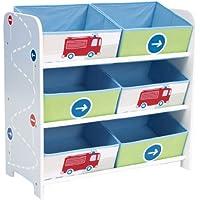 Preisvergleich für Fahrzeuge - Regal zur Spielzeugaufbewahrung mit sechs Kisten für Kinder