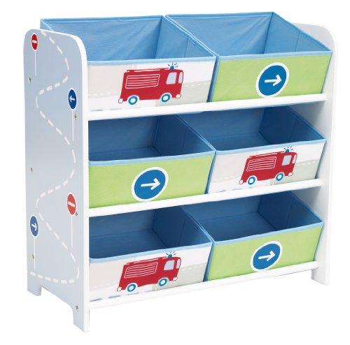 Fahrzeuge - Regal zur Spielzeugaufbewahrung mit sechs Kisten für Kinder -