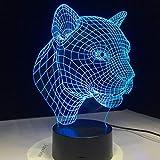 Mddjj Cartoon Leopard Tier 3D Schreibtisch Tischlampe 7 Farbe Nachtlicht Touch Lampe Kinder Kinder Familie Halloween Urlaub Schule Geschenk Schlafzimmer Licht