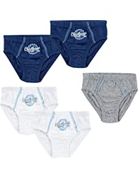 Jacky Baby, lot de 5 slips garçon Exclusiv 711396, 2 bleu pâle, 2 bleu marine, 1 blanc, 100% coton respirant tout doux, très agréable sur la peau, très confortable, très belle qualité
