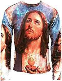 Ticila Herren T-Shirt Blau Lila Jesus Christ Christus Messias In Nomine Patris Halleluja Segnung Religion Super Star Designer Art Kunst Motiv Galerie ViP Rockstar Design
