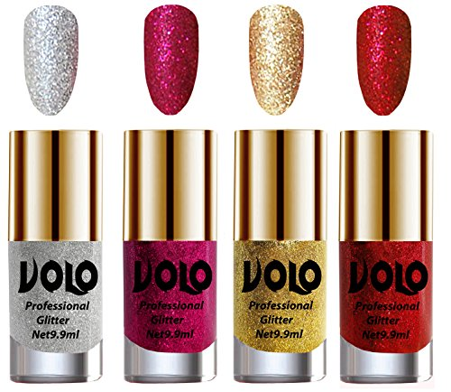 Volo Professionally Used Glitter Shine Nail Polish Combo Pack of 4(Silver Glitter, Magenta Glitter, Golden Glitter, Red Glitter)