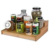 cookenia   hochwertiges Gewürzregal aus Bambus für Küchenschrank und Arbeitsfläche - praktischer Küchen-Organizer auf 3 Ebenen