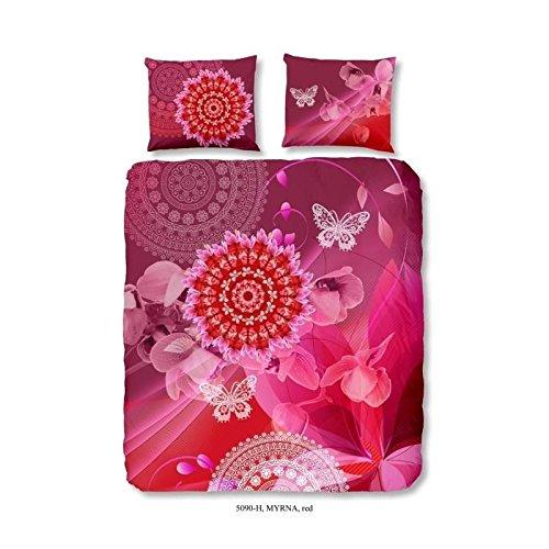 HIP Parure de couette Myrna 100% satin de coton - 1 housse de couette 220x240 cm + 2 taies d'oreillers d'oreillers 60x70 cm rouge