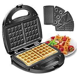 Waffeleisen, Godmorn 4IN1 Waffelautomat, Waffel Maker, Sandwich-Toaster, Panini-Maschine, Donut-Herstellungsmaschine, Antihaft-Platte, 750W, Automatische Temperaturregelung